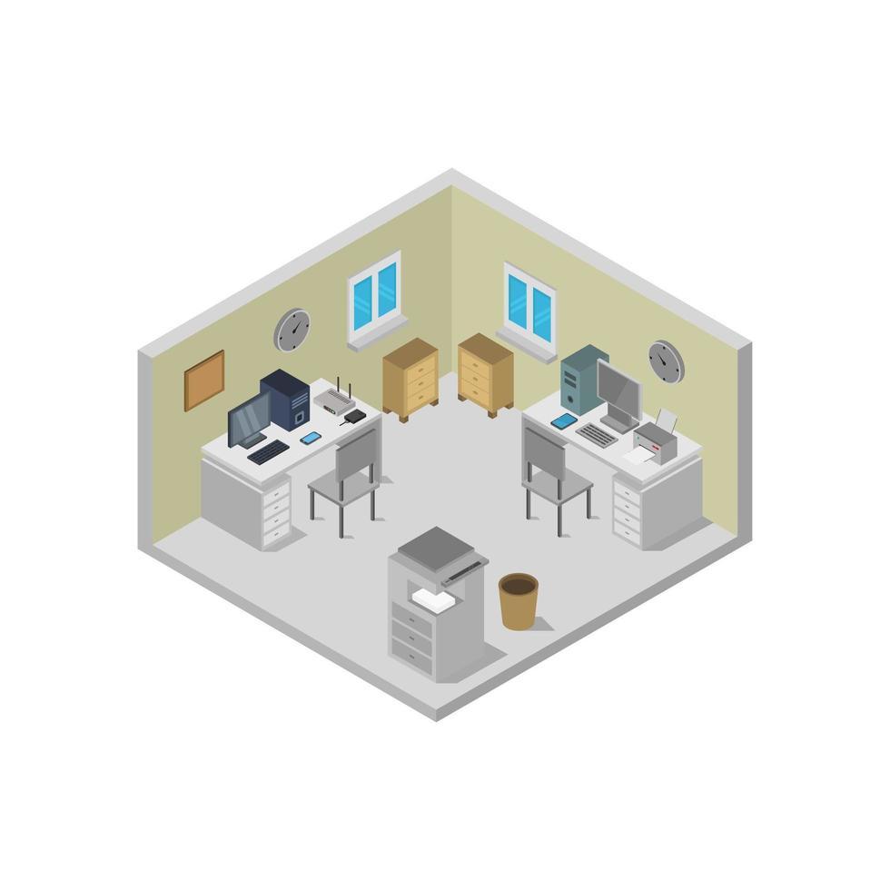 oficina isométrica sobre fondo blanco vector