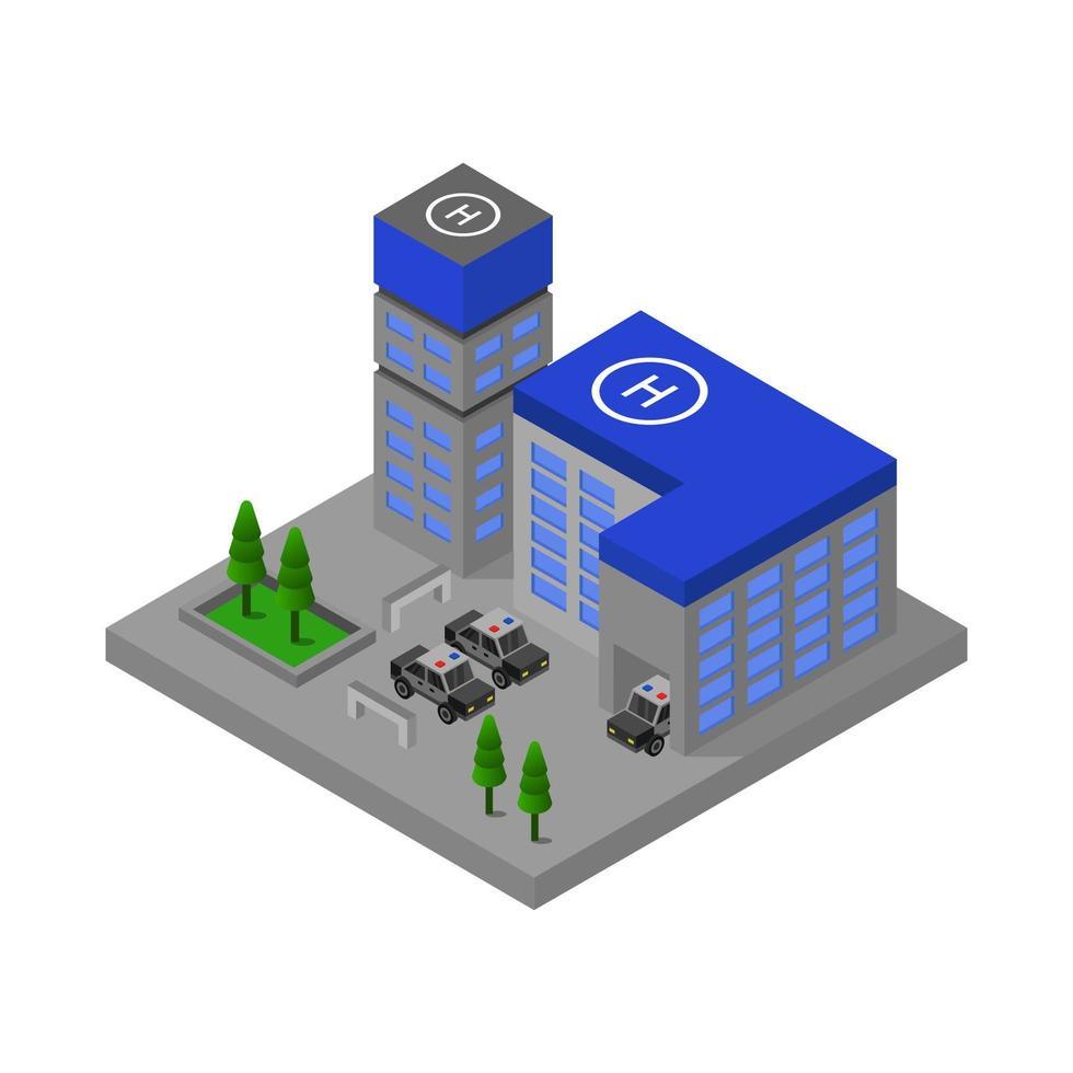 Comisaría de policía isométrica sobre fondo blanco. vector