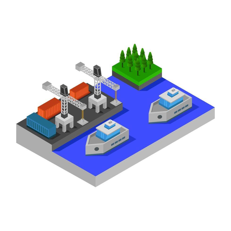 puerto de barcos isométrico vector