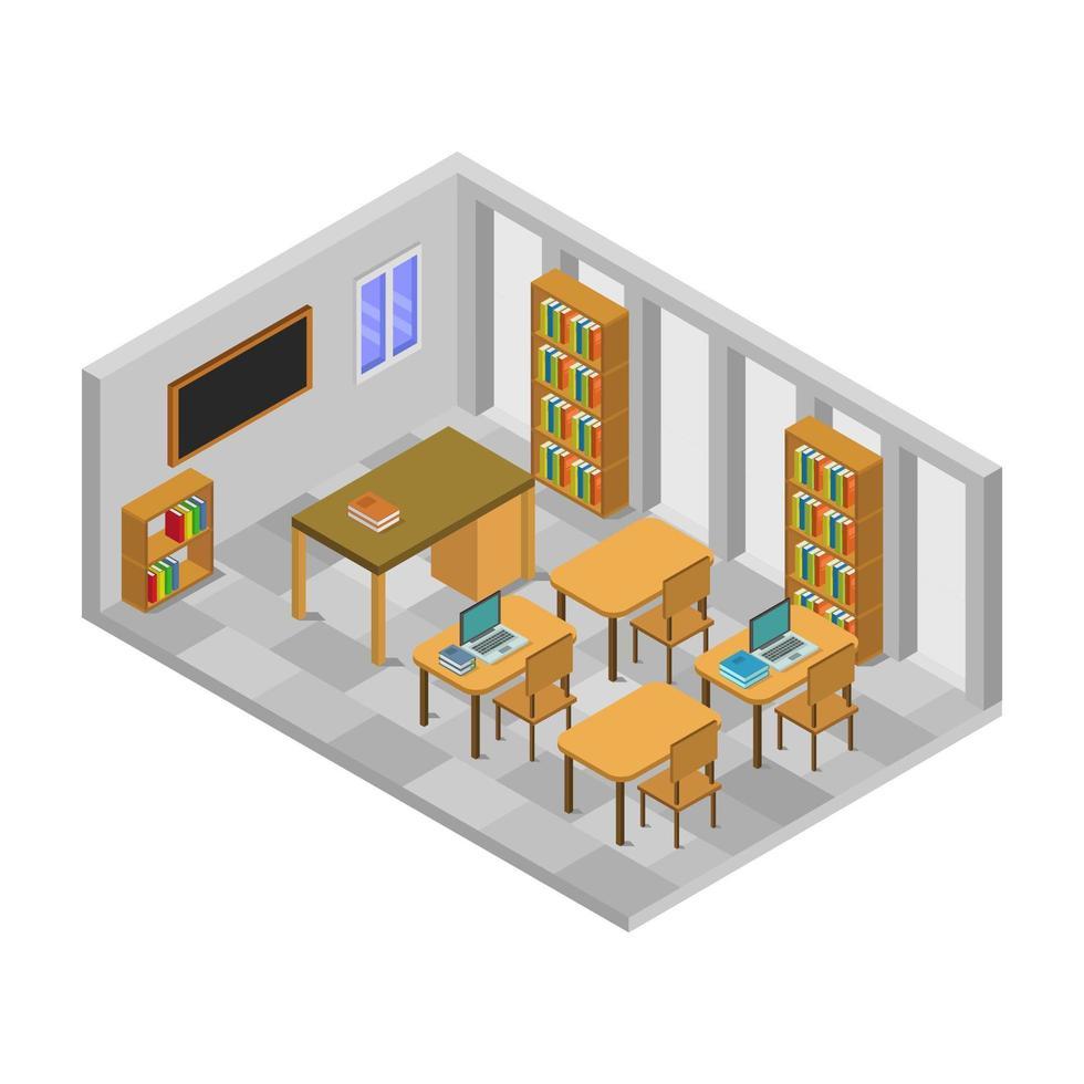 sala de la escuela isométrica con escritorios vector