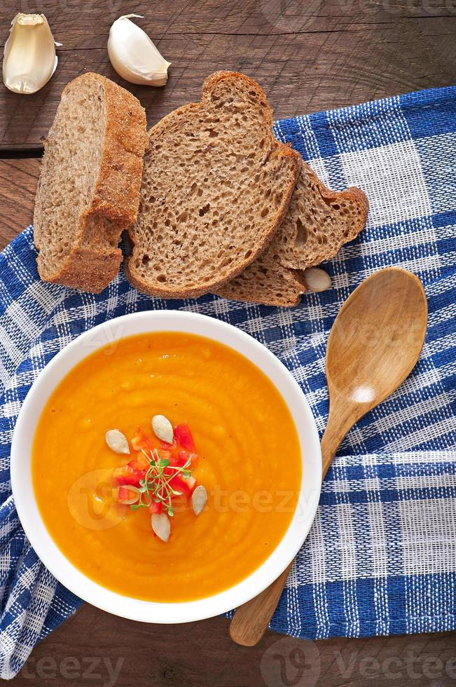 Delicious cream of pumpkin soup in a bowl photo