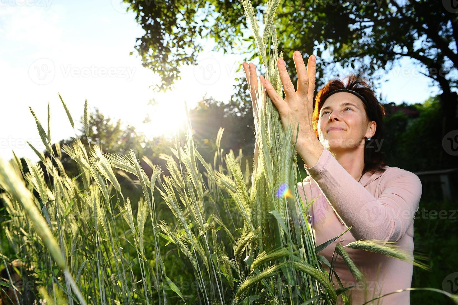 Girl tenderly embraces sheaf of wheat photo
