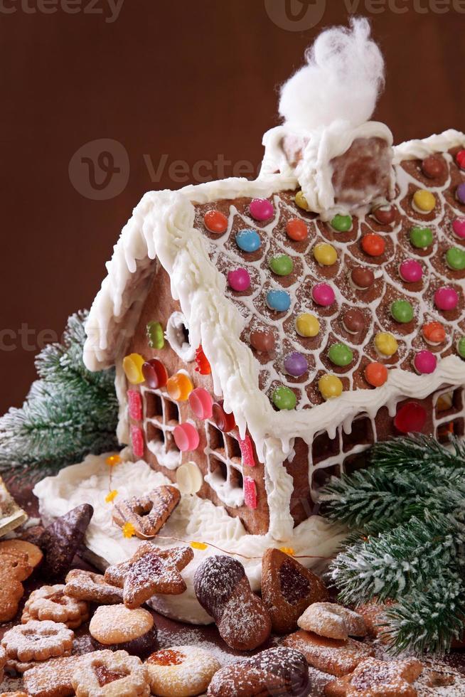 Homemade gingerbread house photo