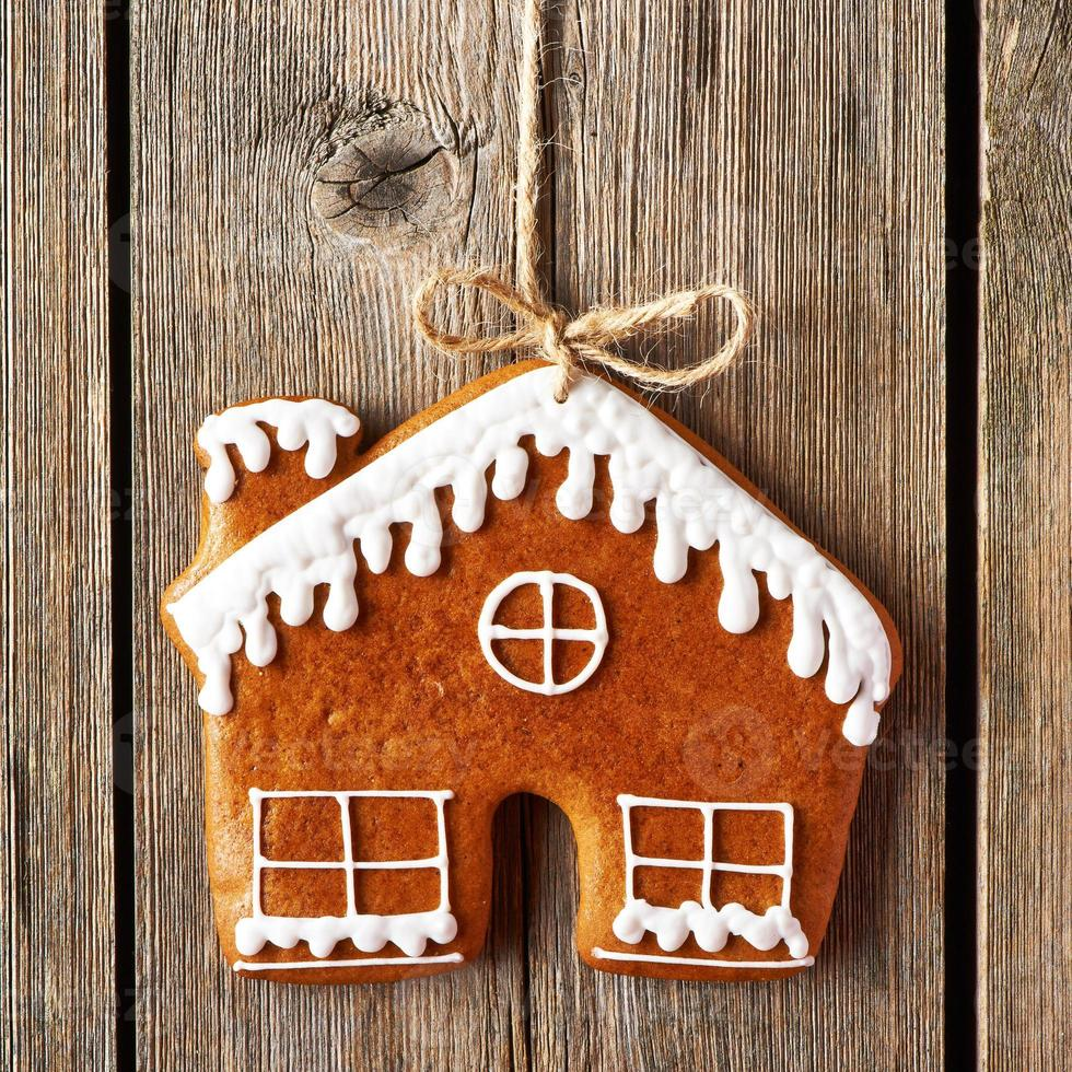 Christmas homemade gingerbread house cookie photo