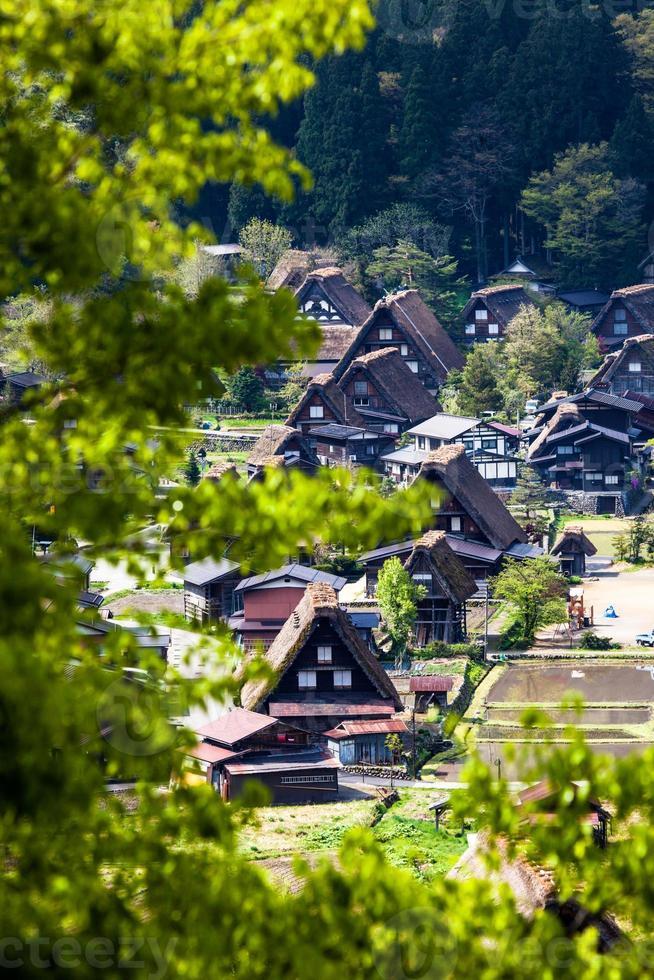 vila tradicional e histórica japonesa ogimachi - shirakawa-go, japão foto