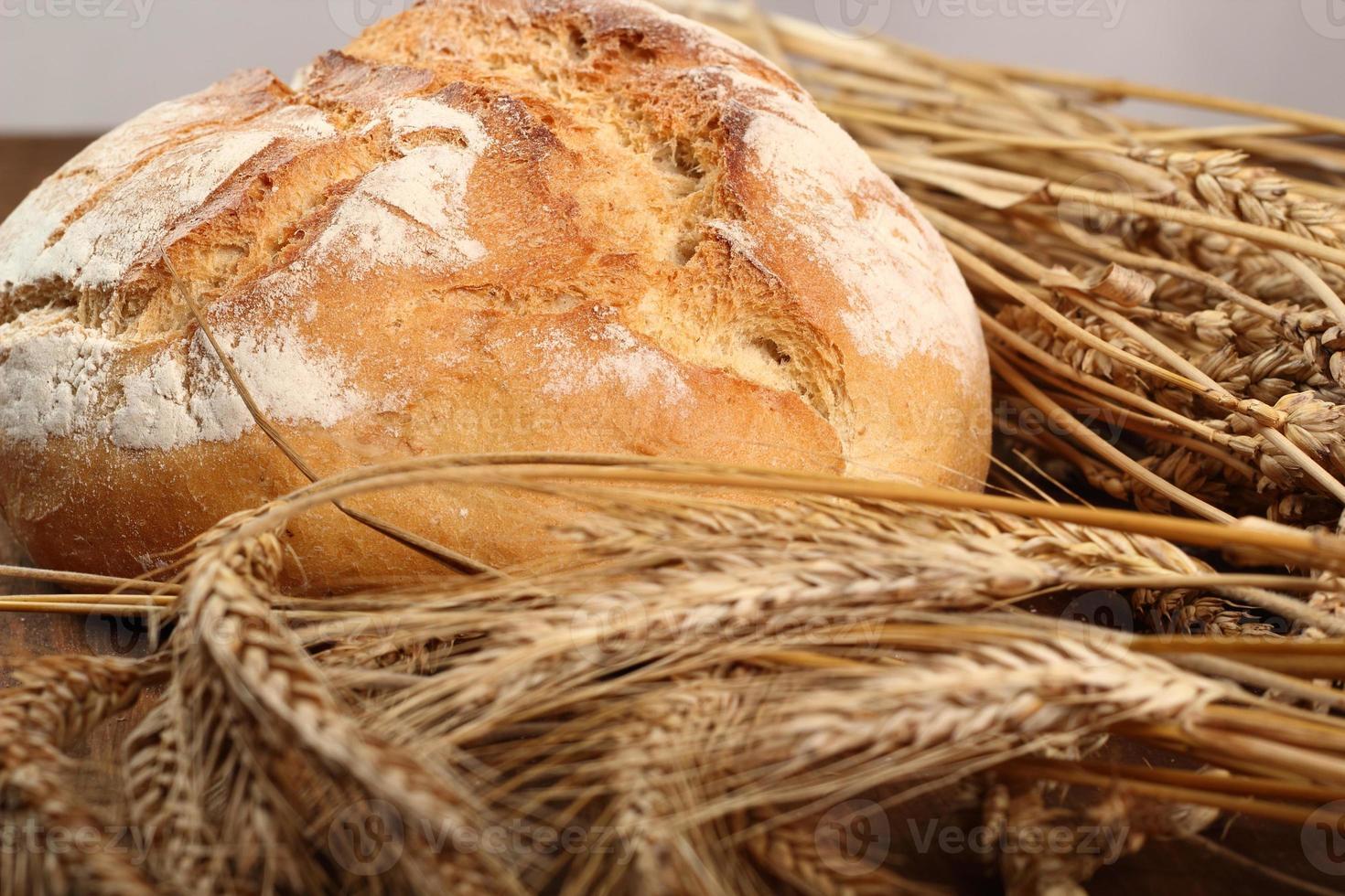 pão e espigas de trigo foto