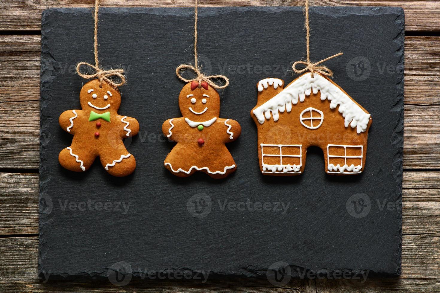Christmas homemade gingerbread couple cookies photo