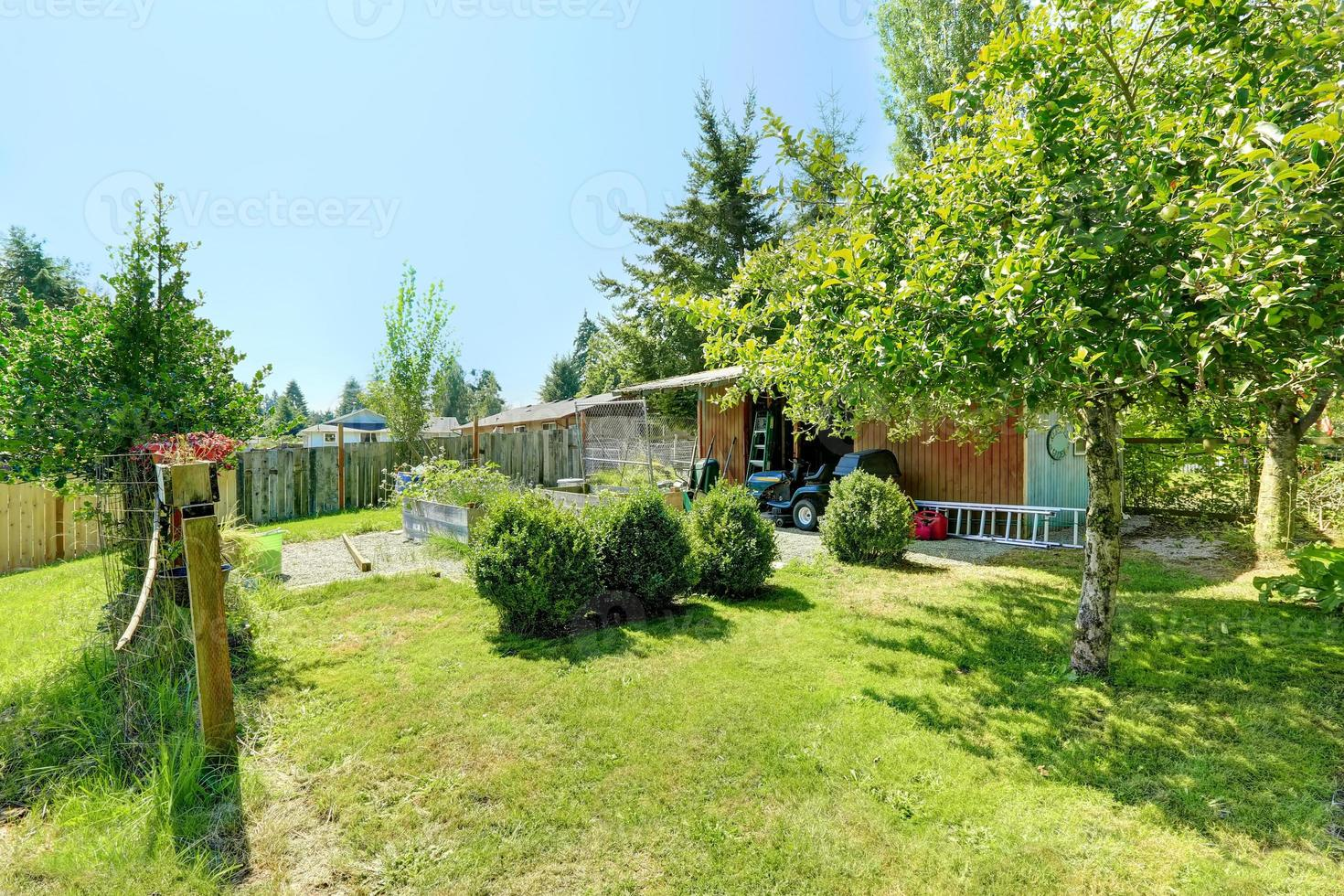 Countryside house backyard with shed and garden photo