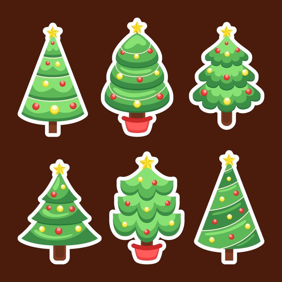 linda colección de pegatinas de árbol de navidad vector