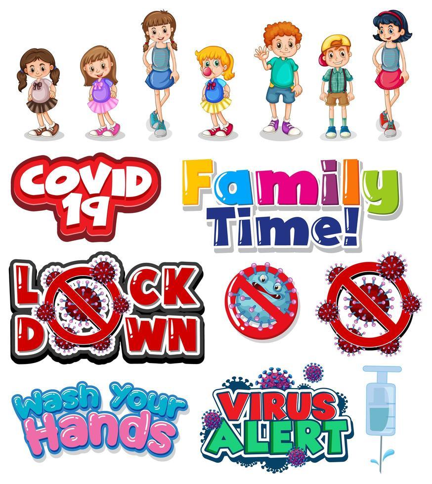 Cartoon Family And Coronavirus Signs Set Download Free Vectors Clipart Graphics Vector Art