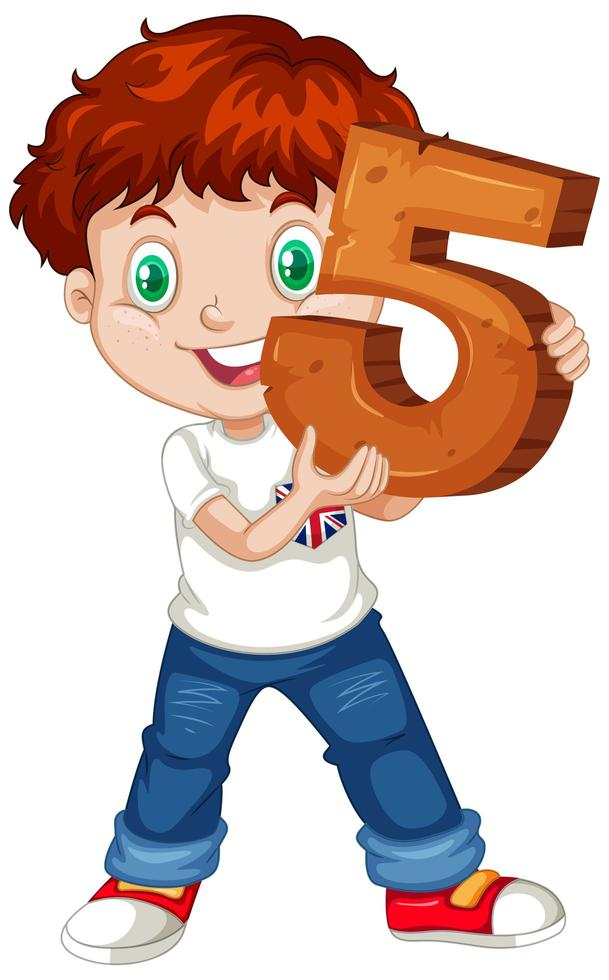 Young boy holding the number five vector
