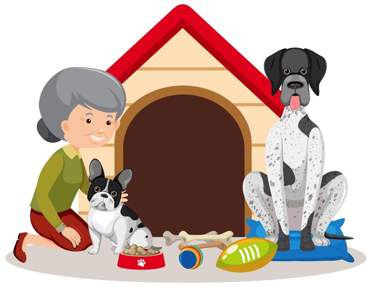 anciana con dos perros vector