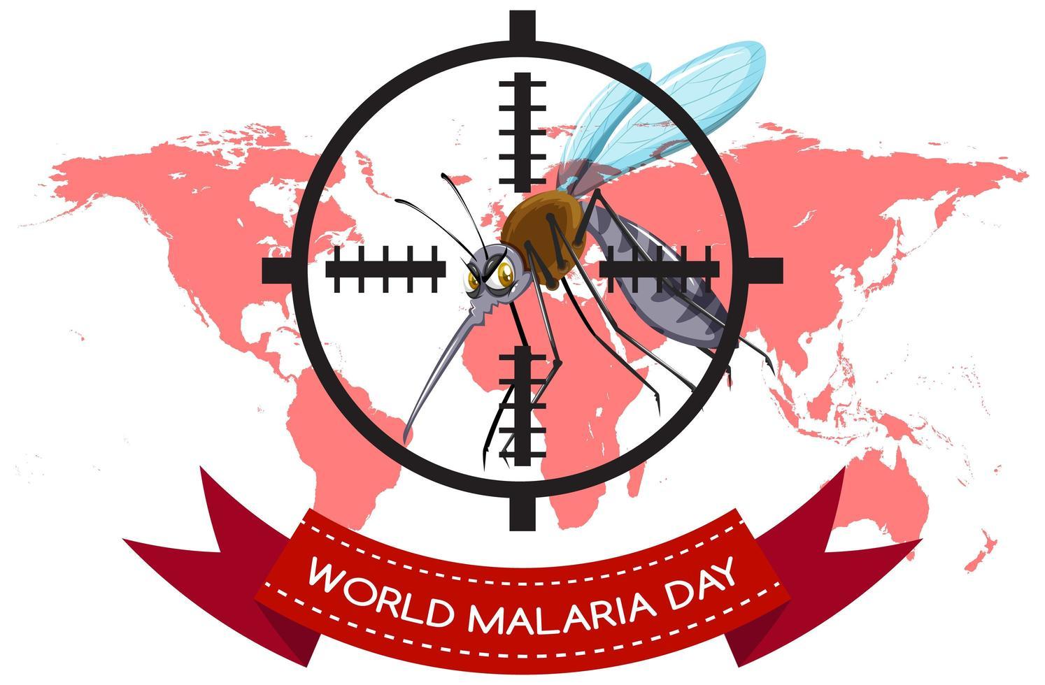 banner del día mundial de la malaria con mosquitos dirigidos vector