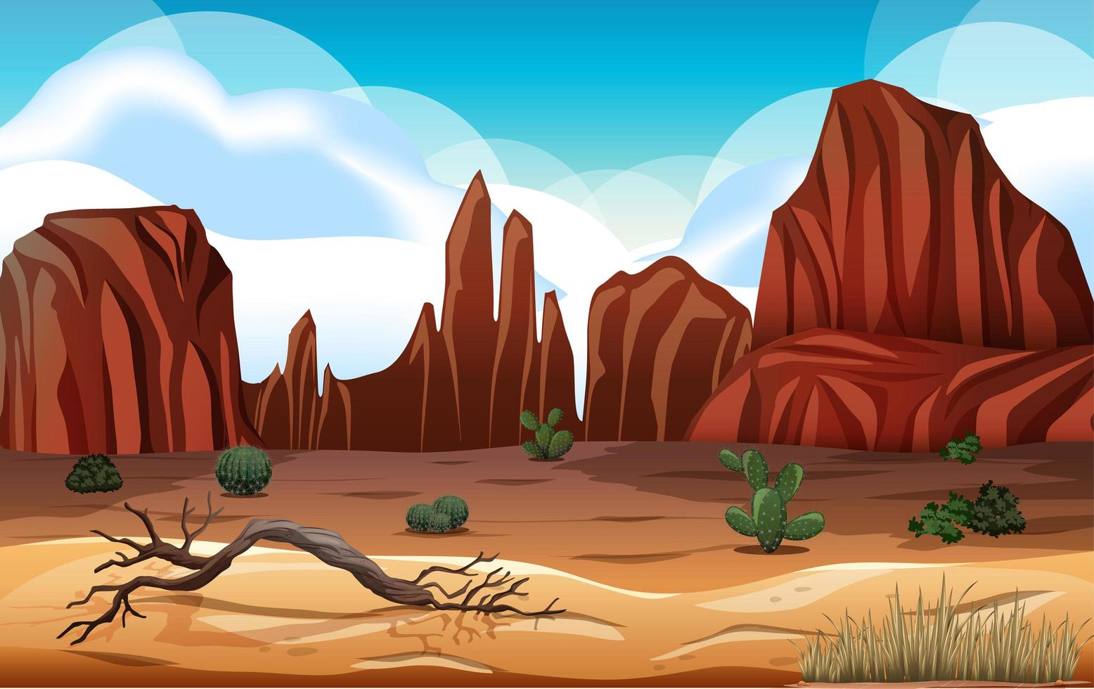Desert with rock mountains landscape at day scene vector