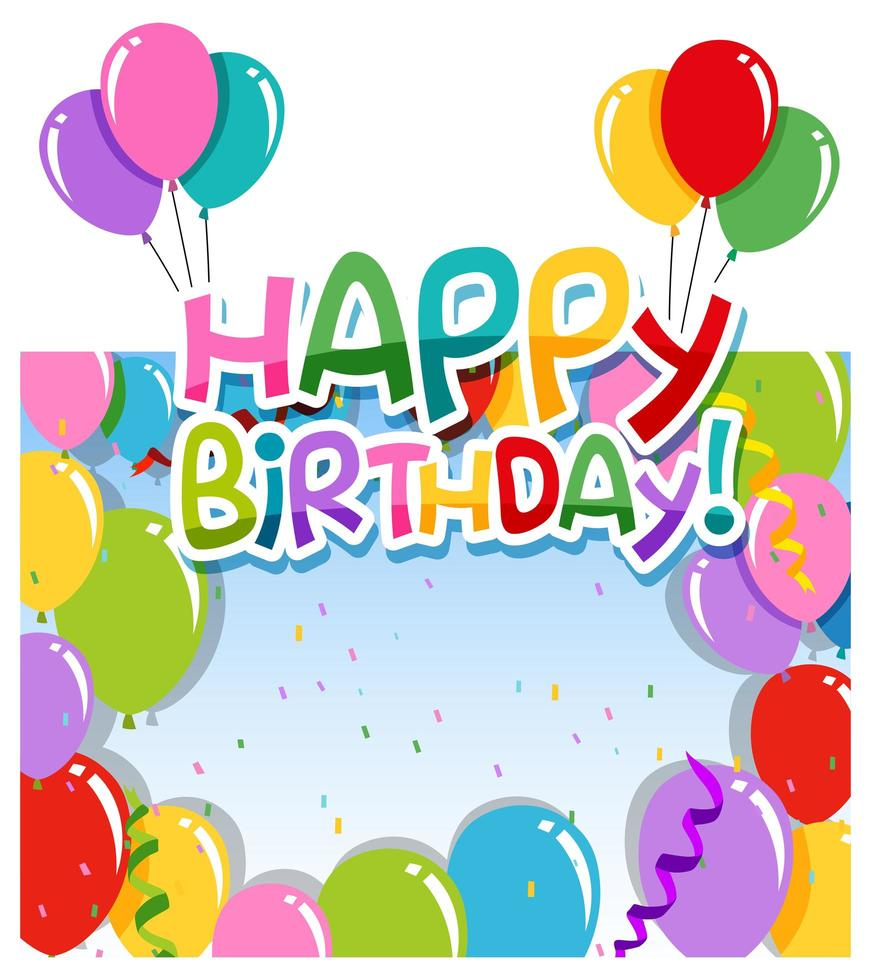 Colorful happy birthday card - Download Free Vectors, Clipart