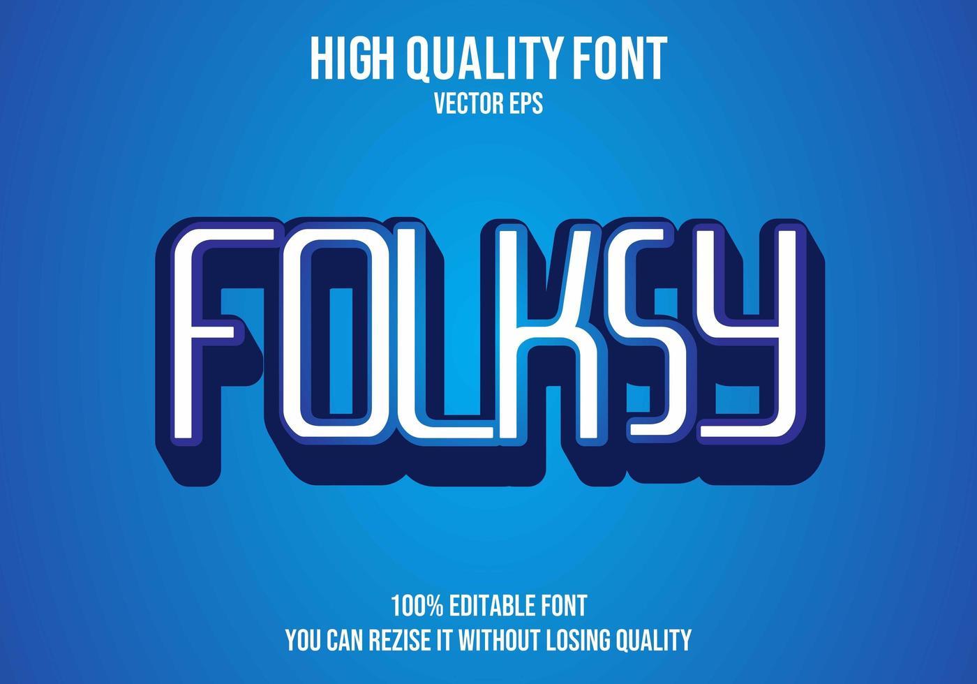 efecto de texto editable folksy vector