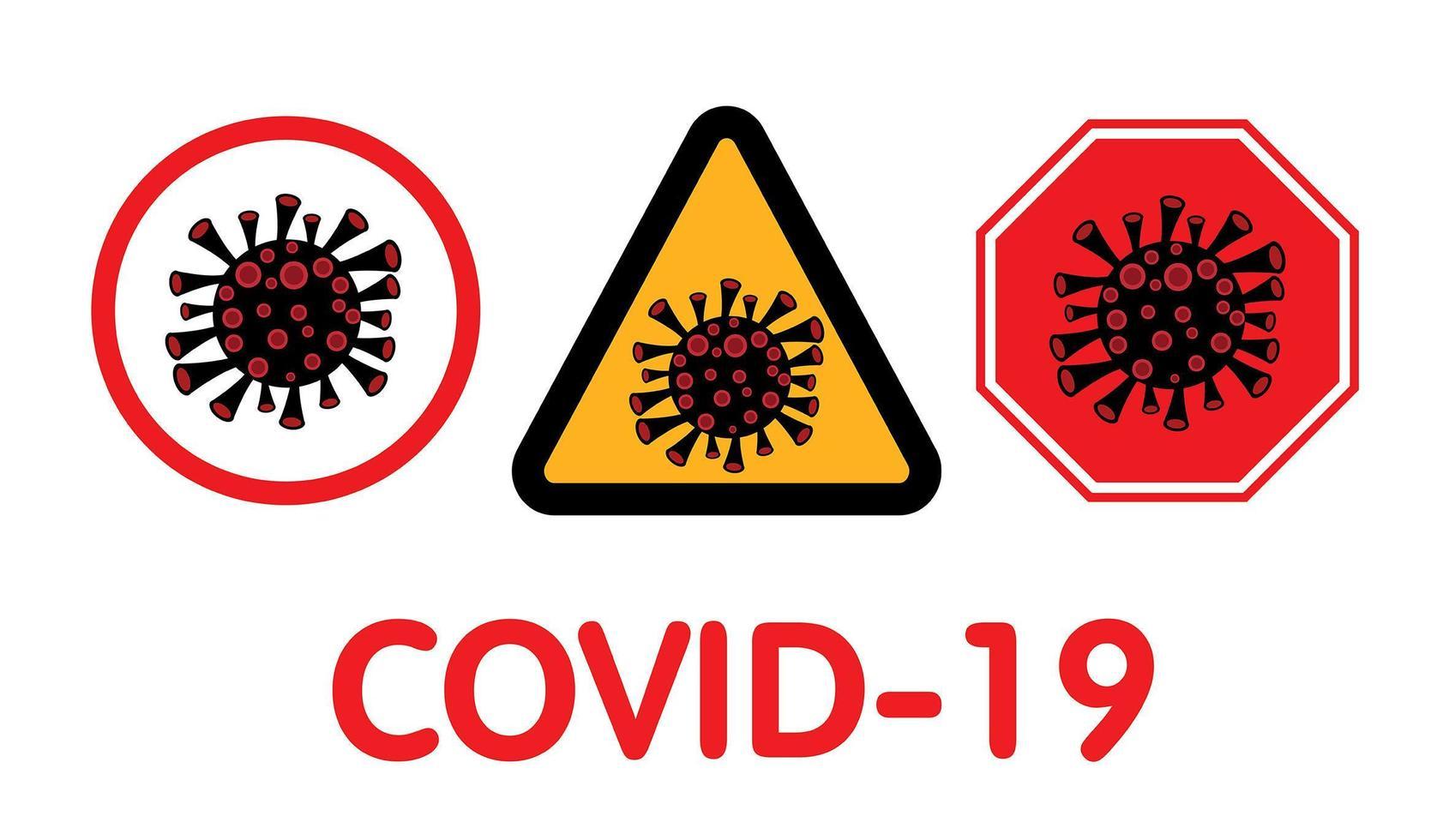 Covid-19, Coronavirus signs. vector