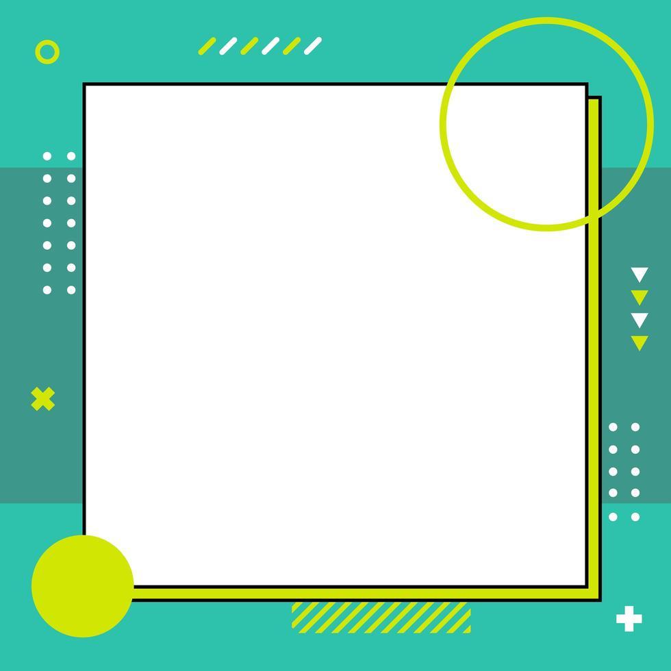 plantilla colorida de estilo memphis en tamaño cuadrado vector