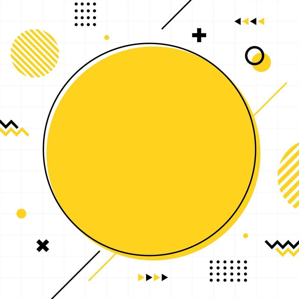 estilo memphis amarillo en tamaño cuadrado. vector