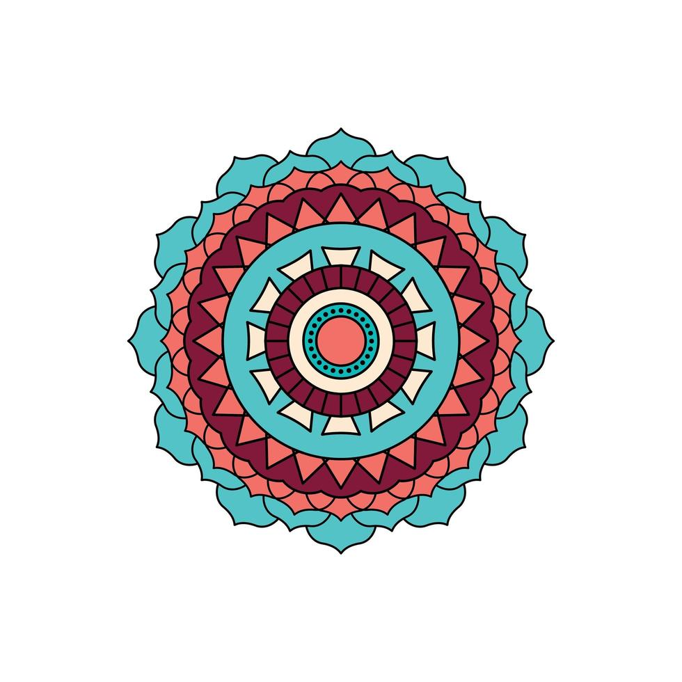 diseño de mandala turquesa vector