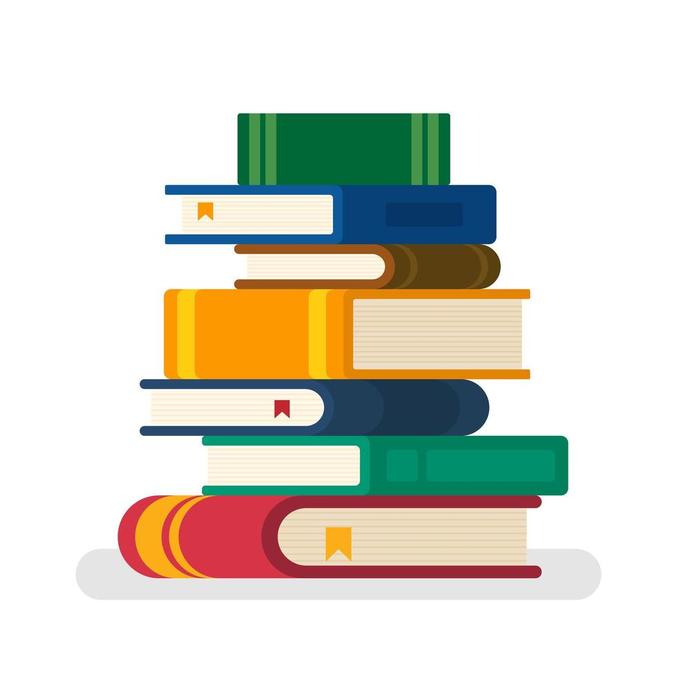 Stack of books with some bookmarks  vector