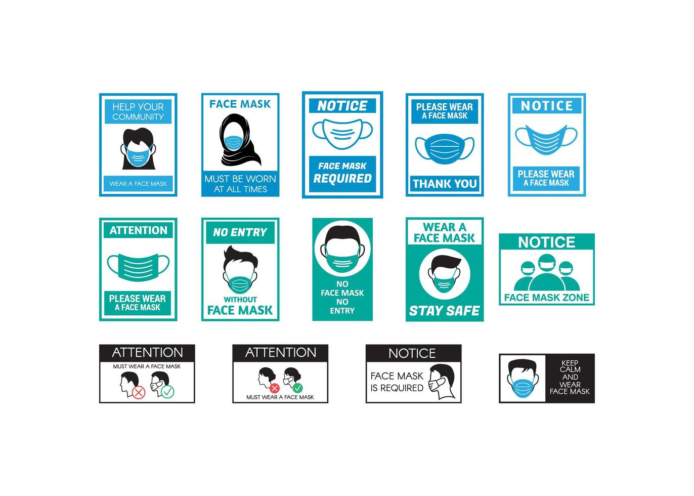 Face mask signage  vector