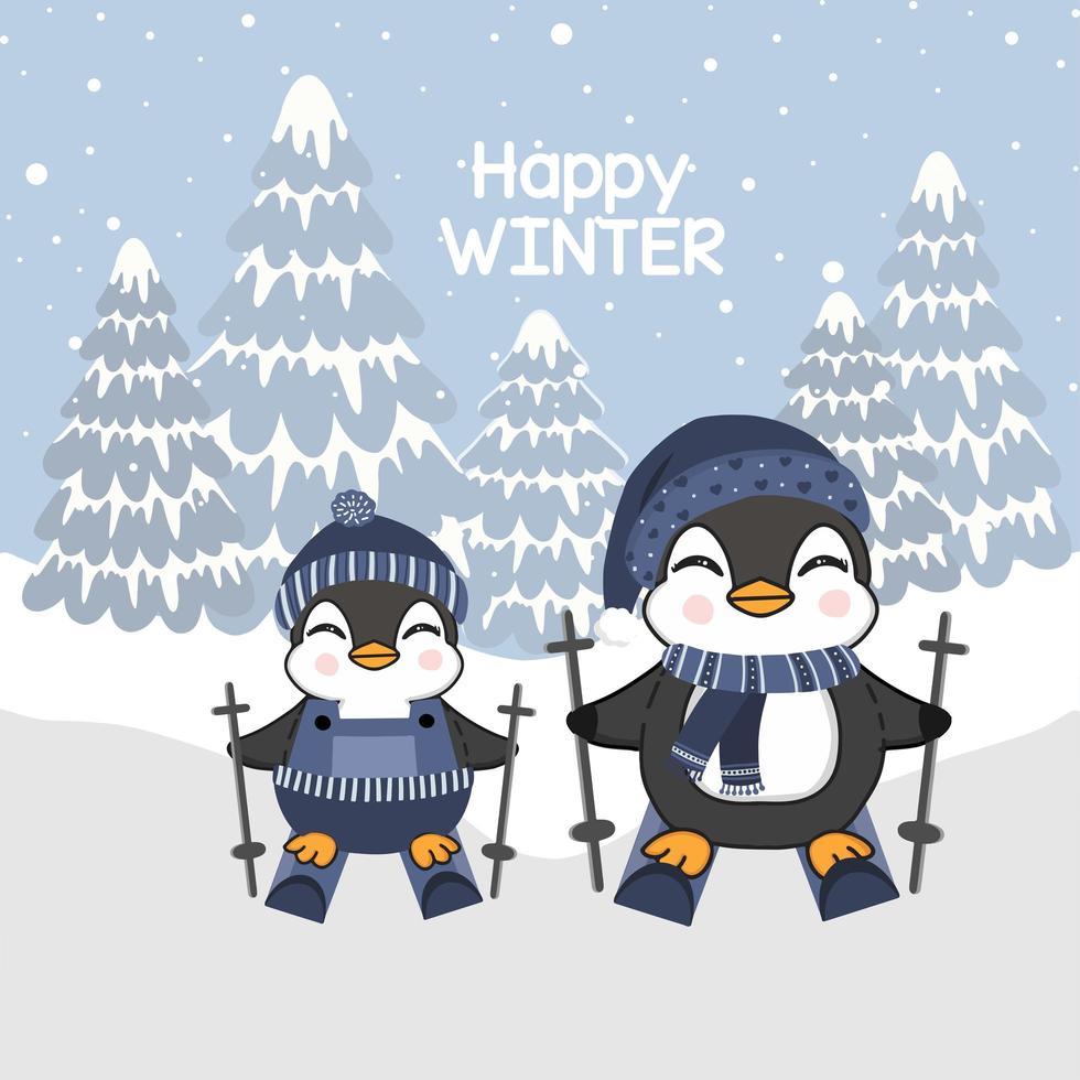 pequeños pingüinos esquiando para el diseño de celebración de invierno vector