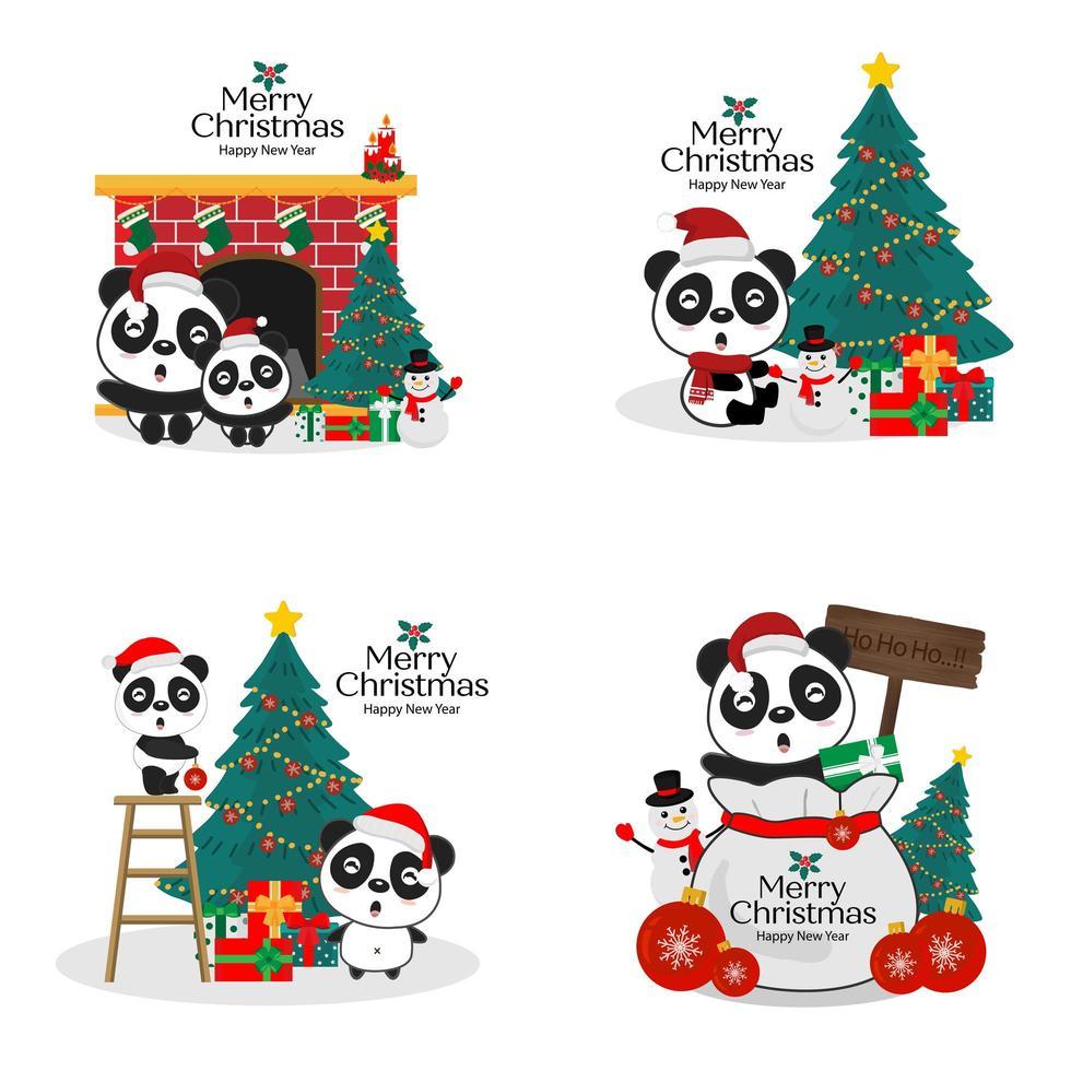 Collection of Christmas panda bears in Santa hats vector