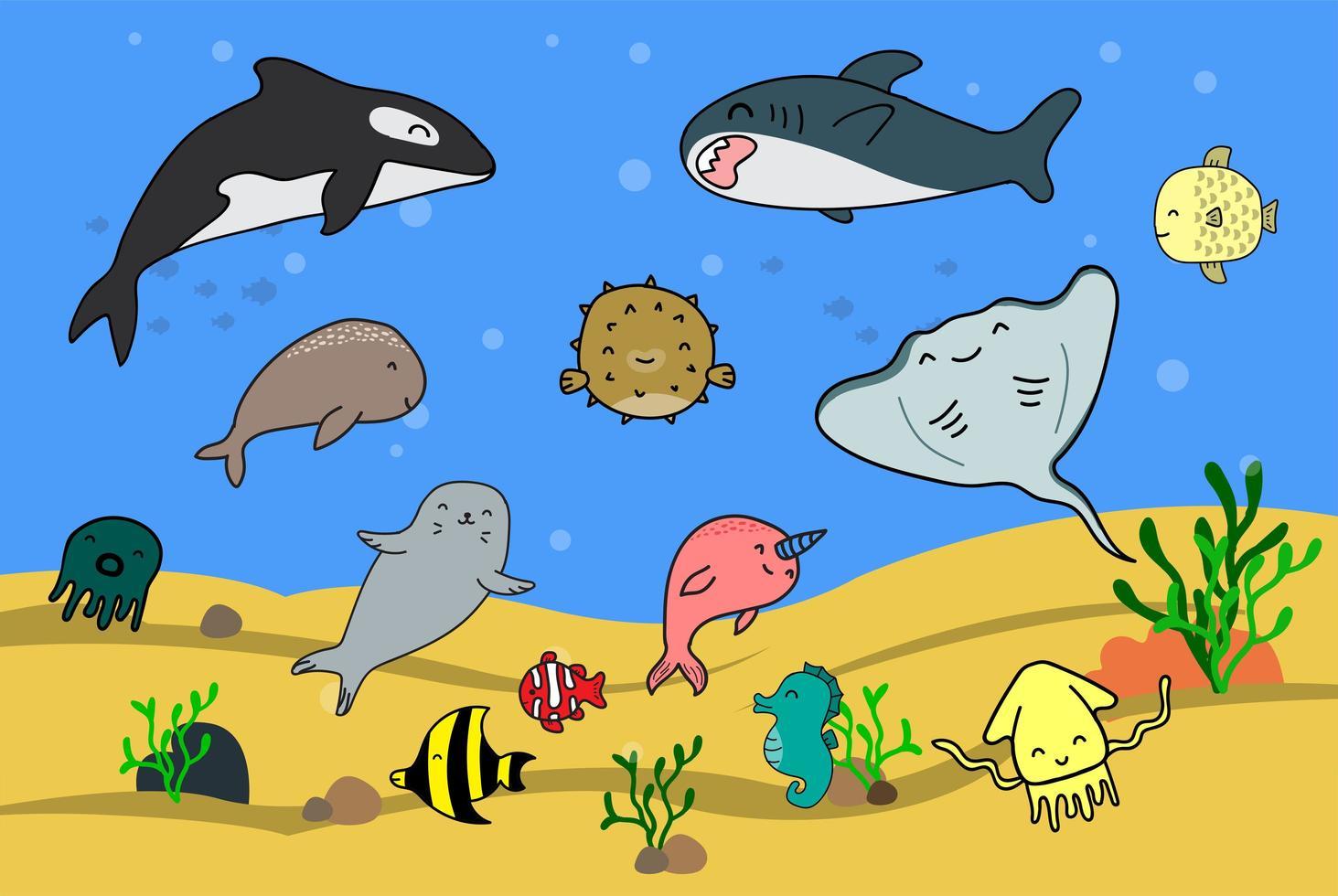 lindos dibujos animados de animales marinos vector