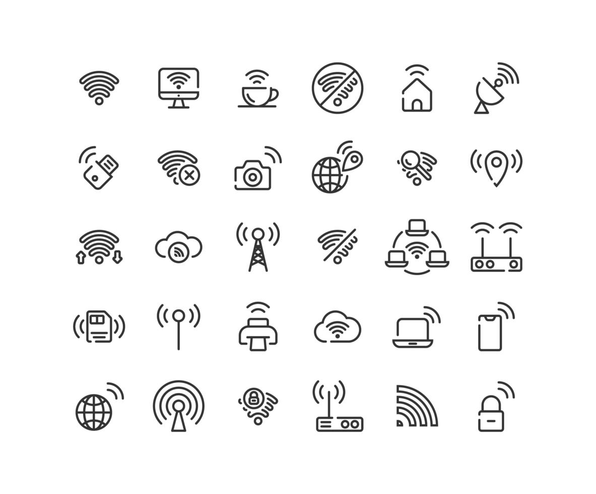 Wireless Network Outline Icon Set vector