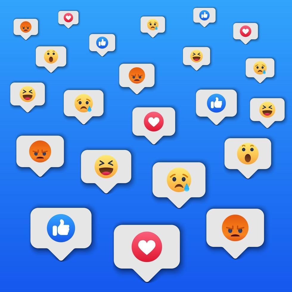 Fondo de icono de reacciones de redes sociales vector