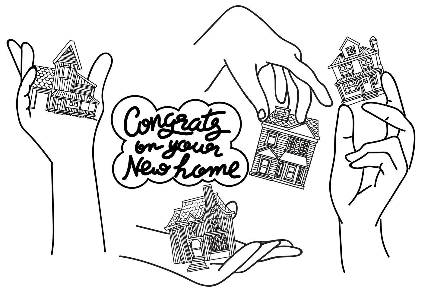 dibujo y boceto de casa vector
