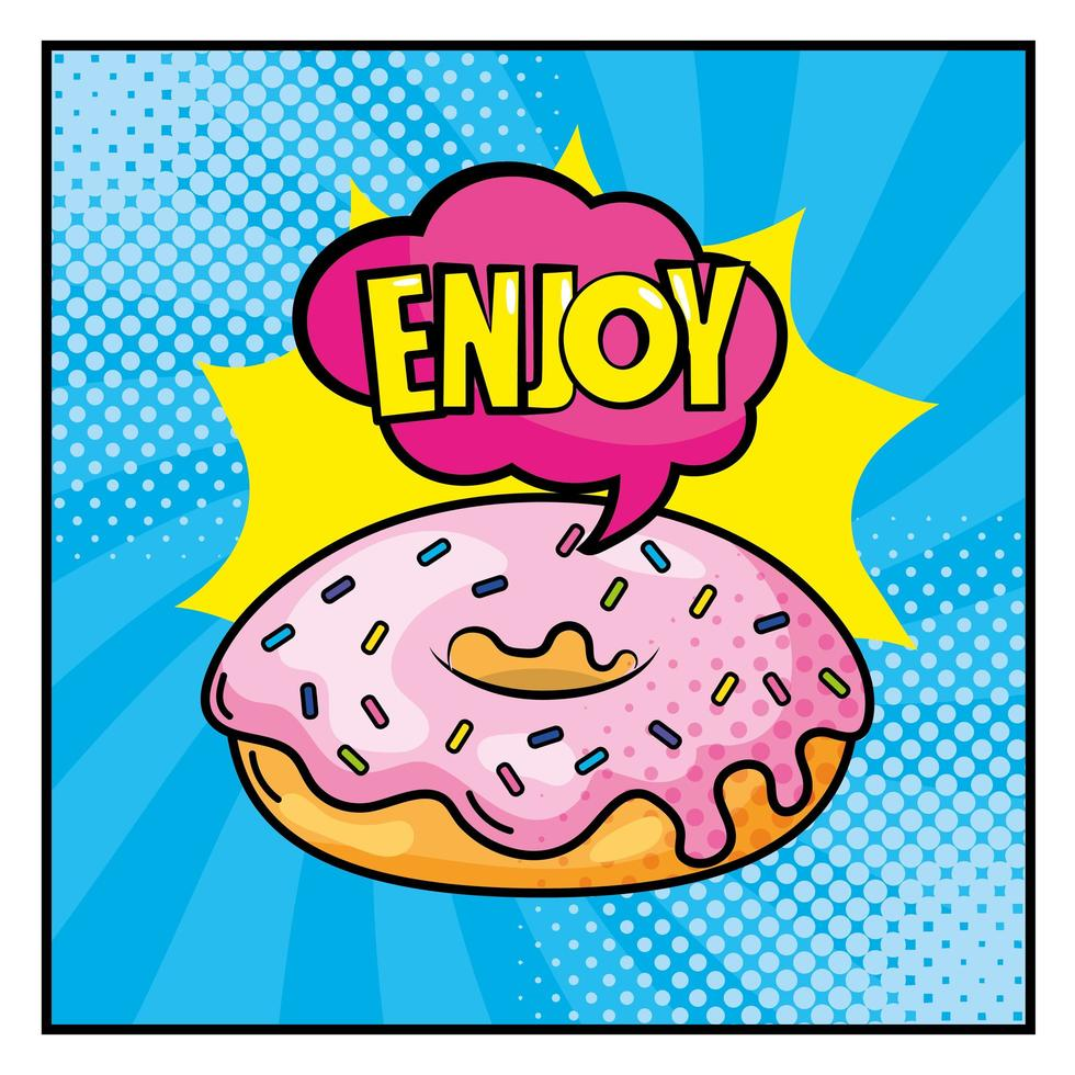 Donut with lettering pop-art style vector
