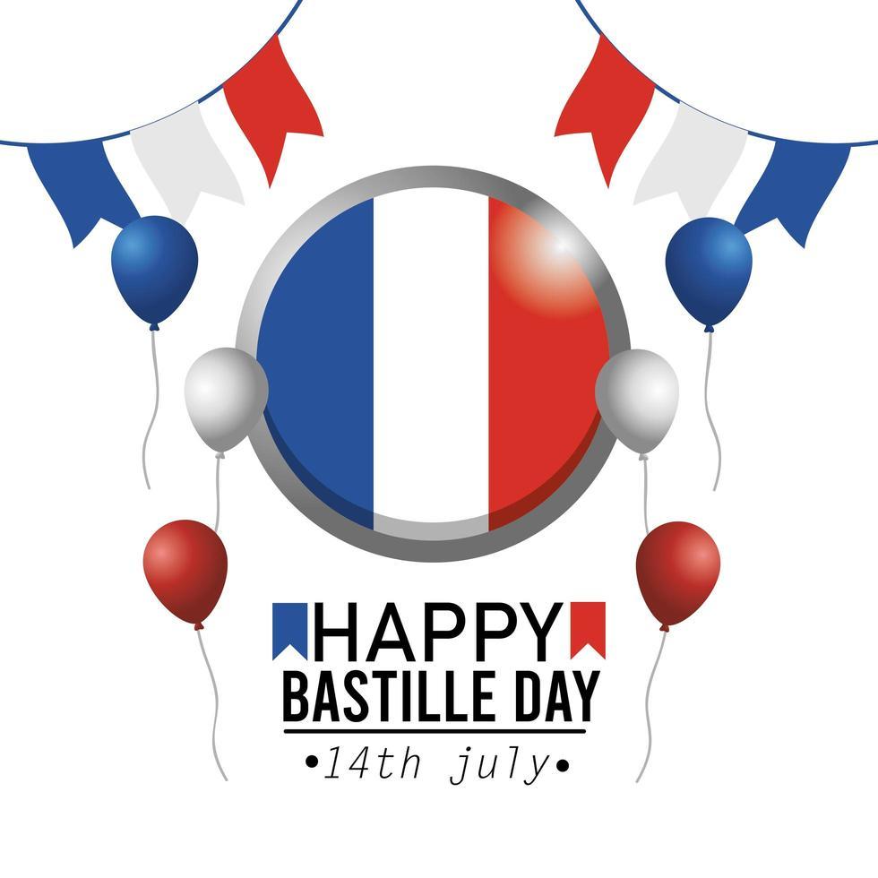 banner de celebración nacional del día de la bastilla francesa vector