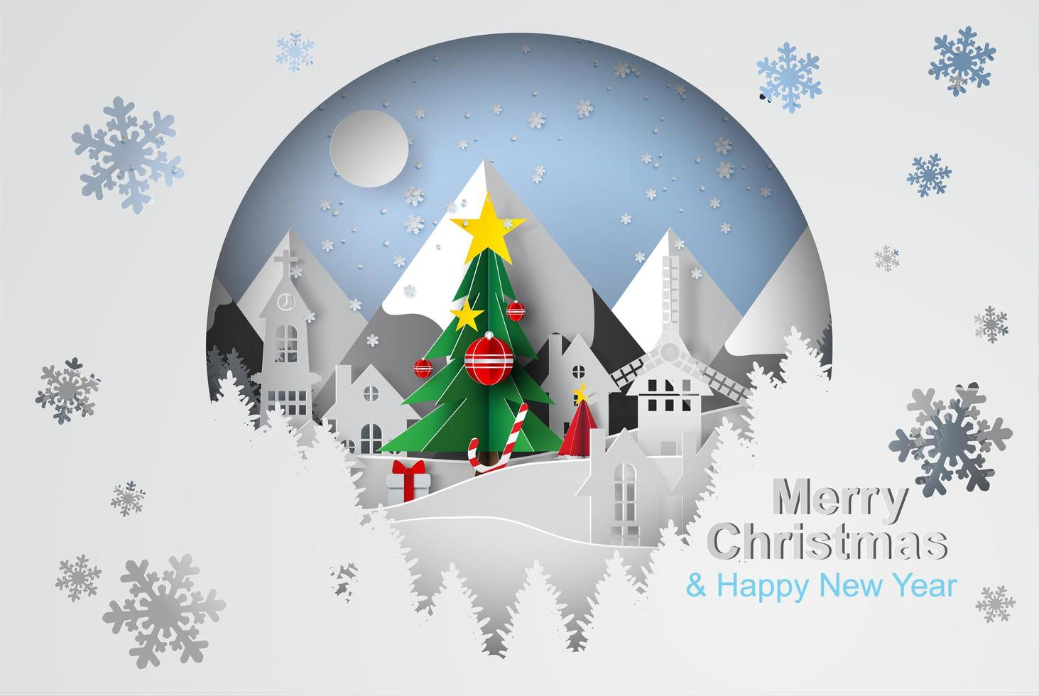Merry Christmas Tree with Circle Shape Concept vector