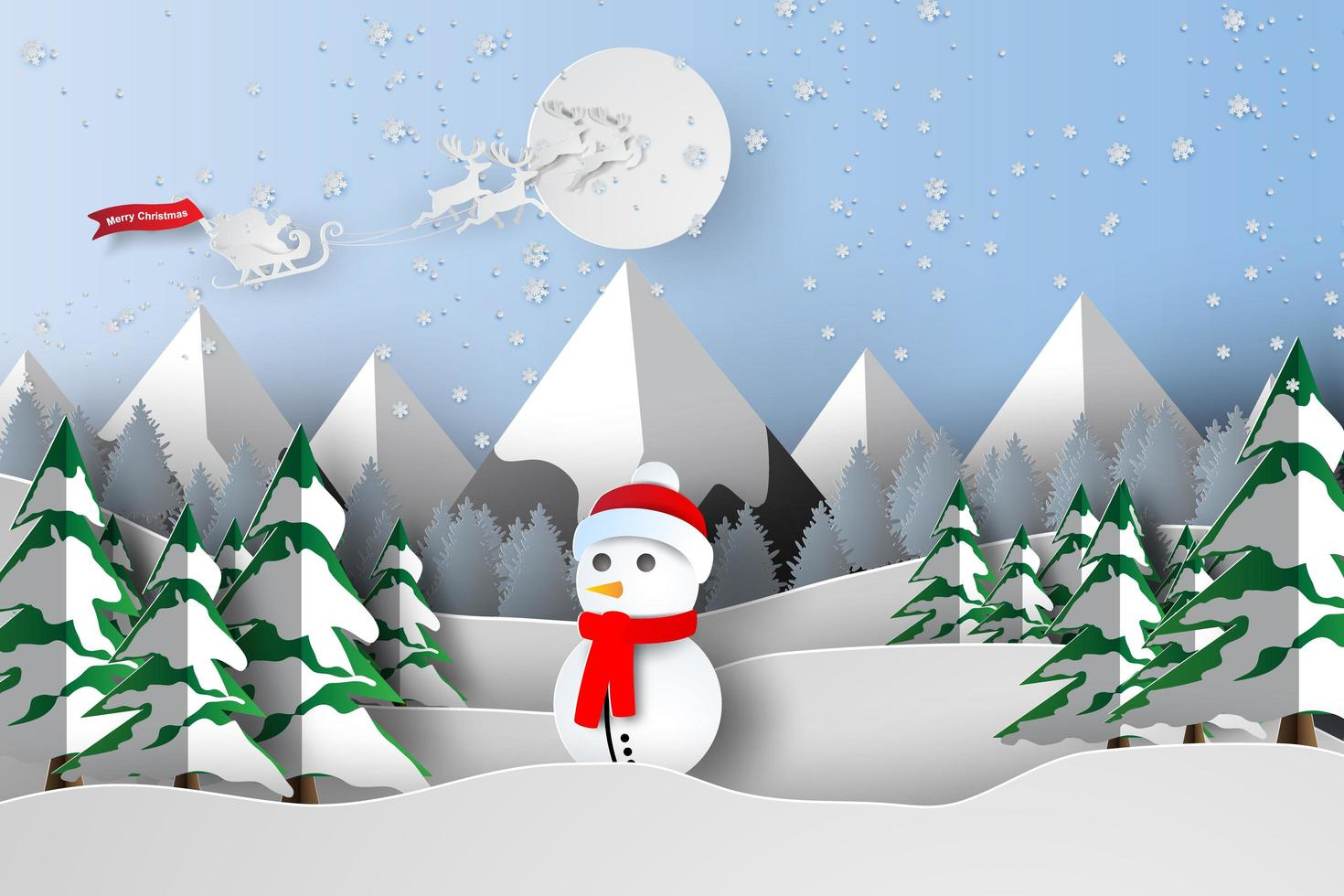 Paper Art of Merry Christmas with Snowman vector