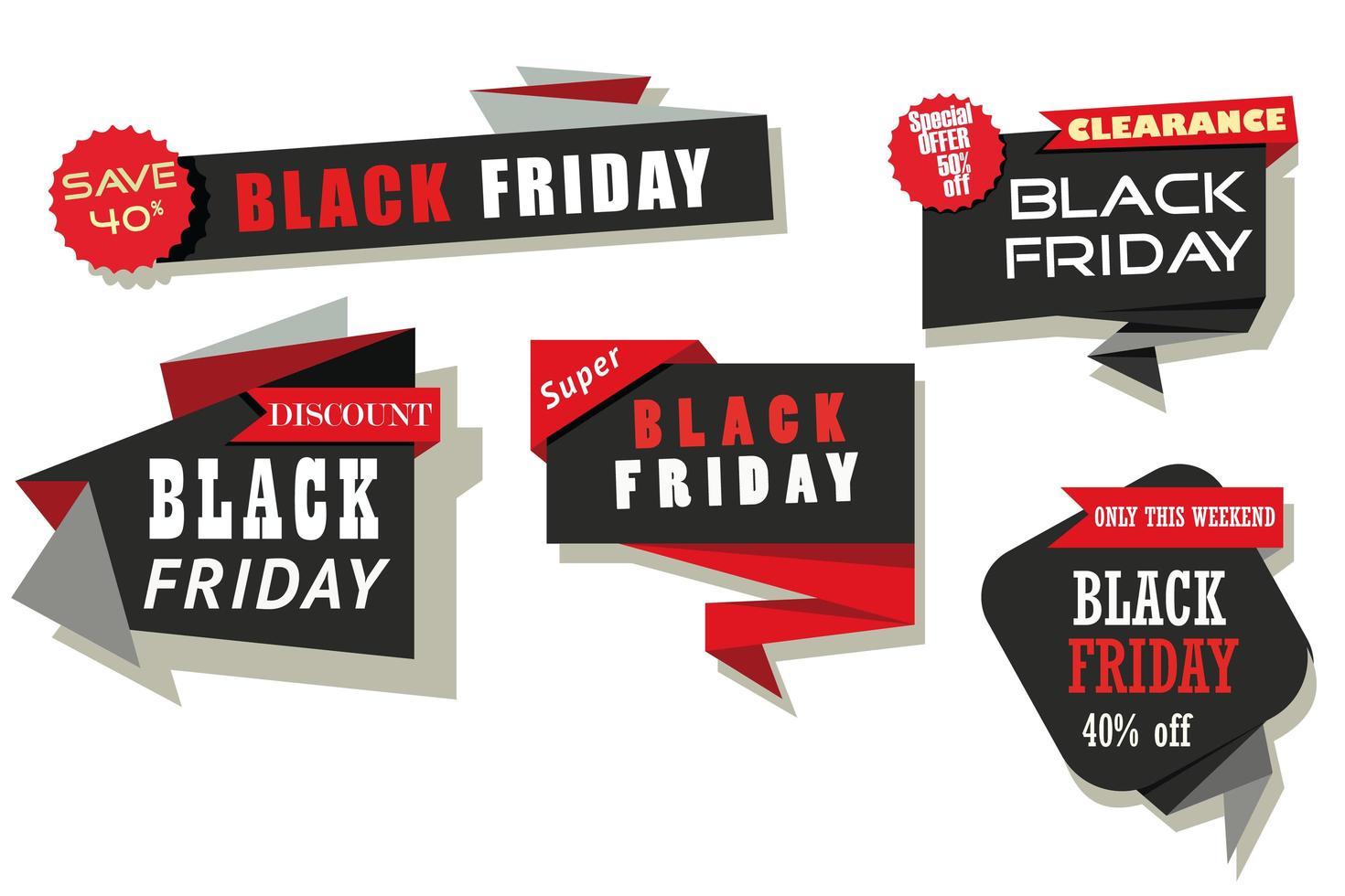 Black Friday red ribbons set vector