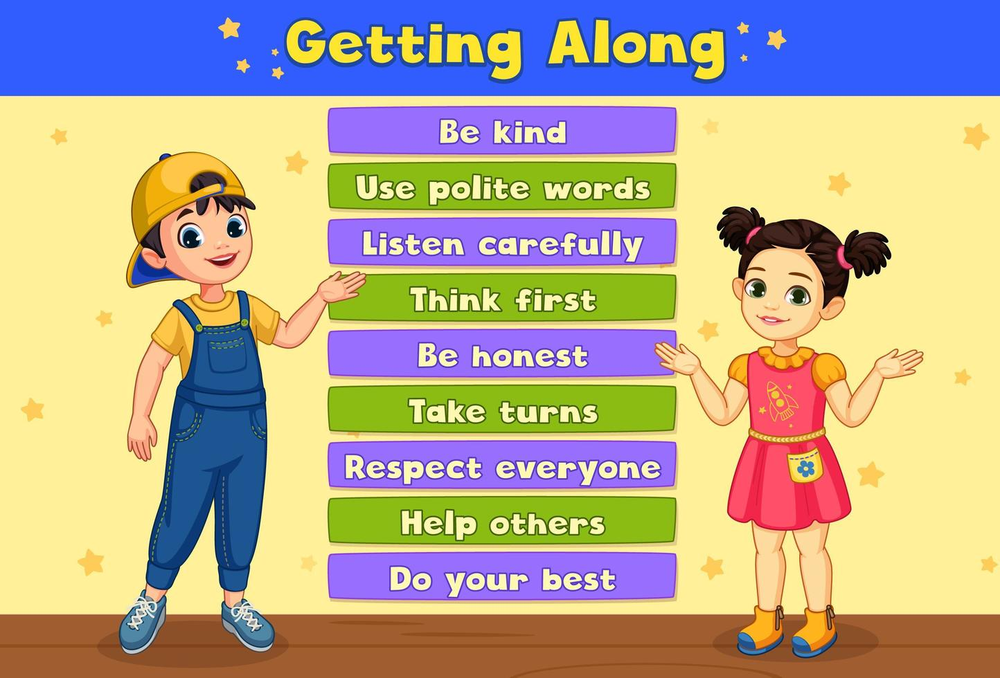 ''Getting Along'' Board Showing Two Kids vector