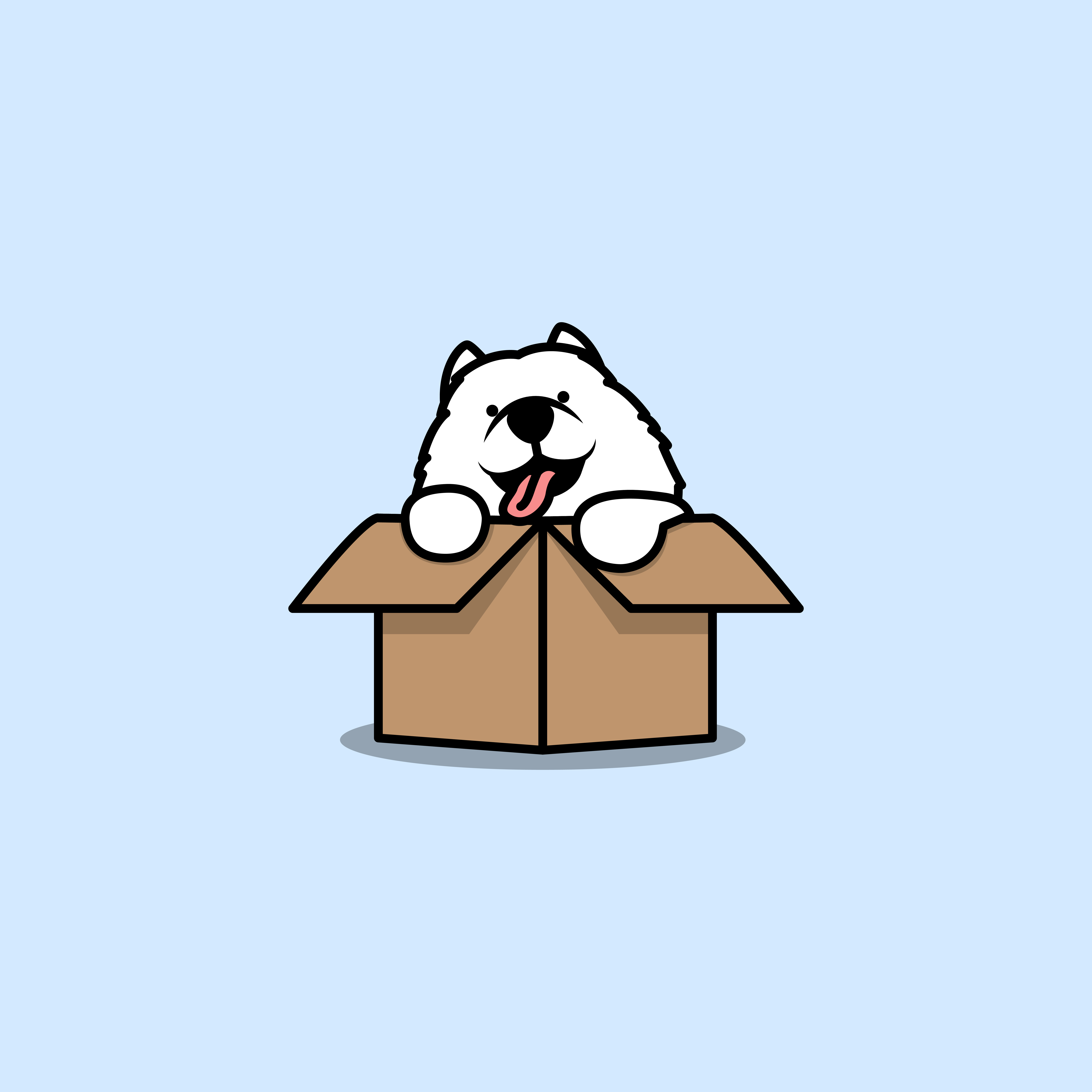 Cute Samoyed Puppy In Box Cartoon Download Free Vectors Clipart Graphics Vector Art