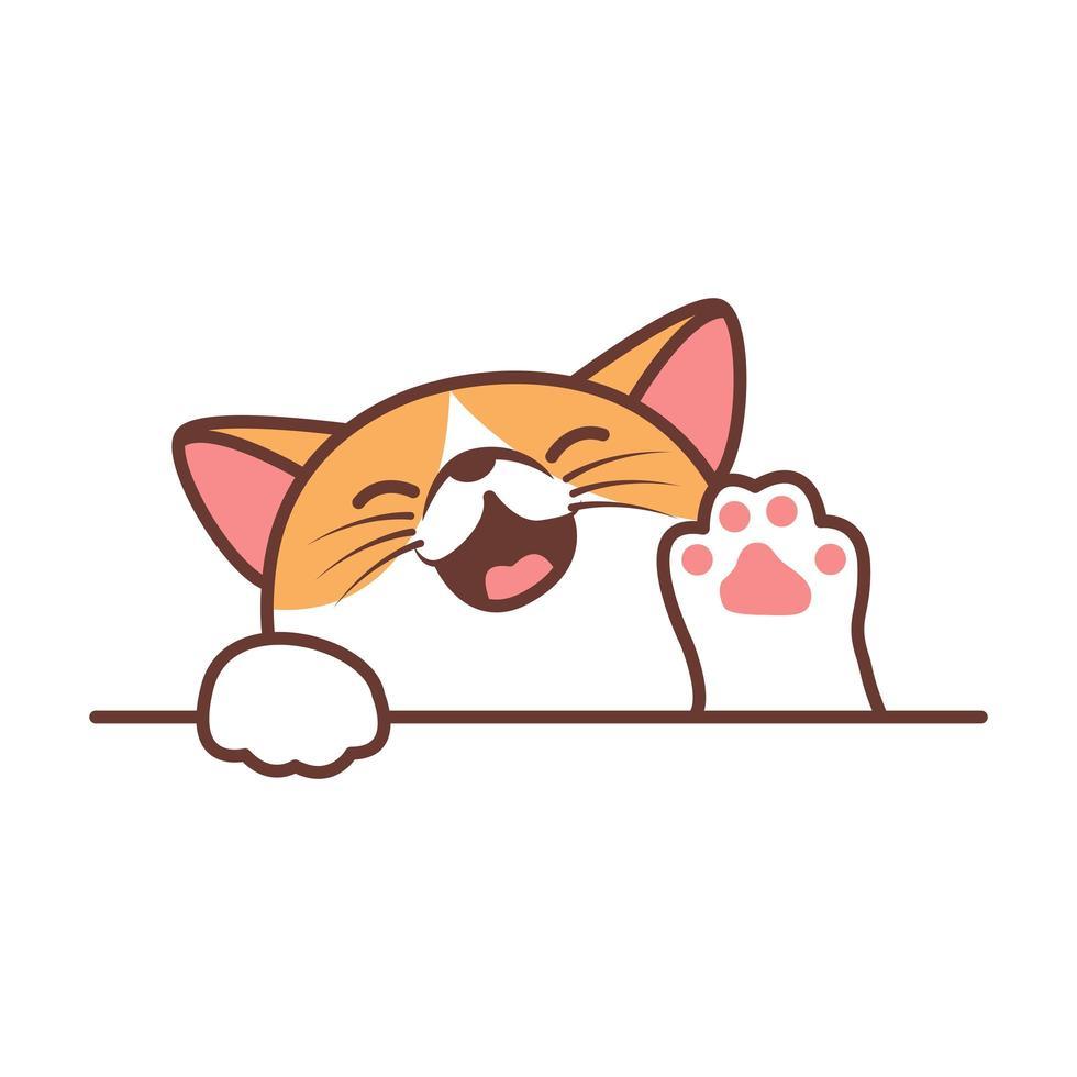 Cute cat waving paw cartoon vector