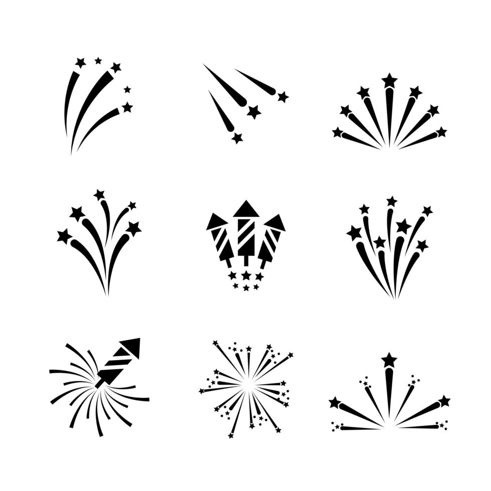 Fireworks and sparks outline icon set vector