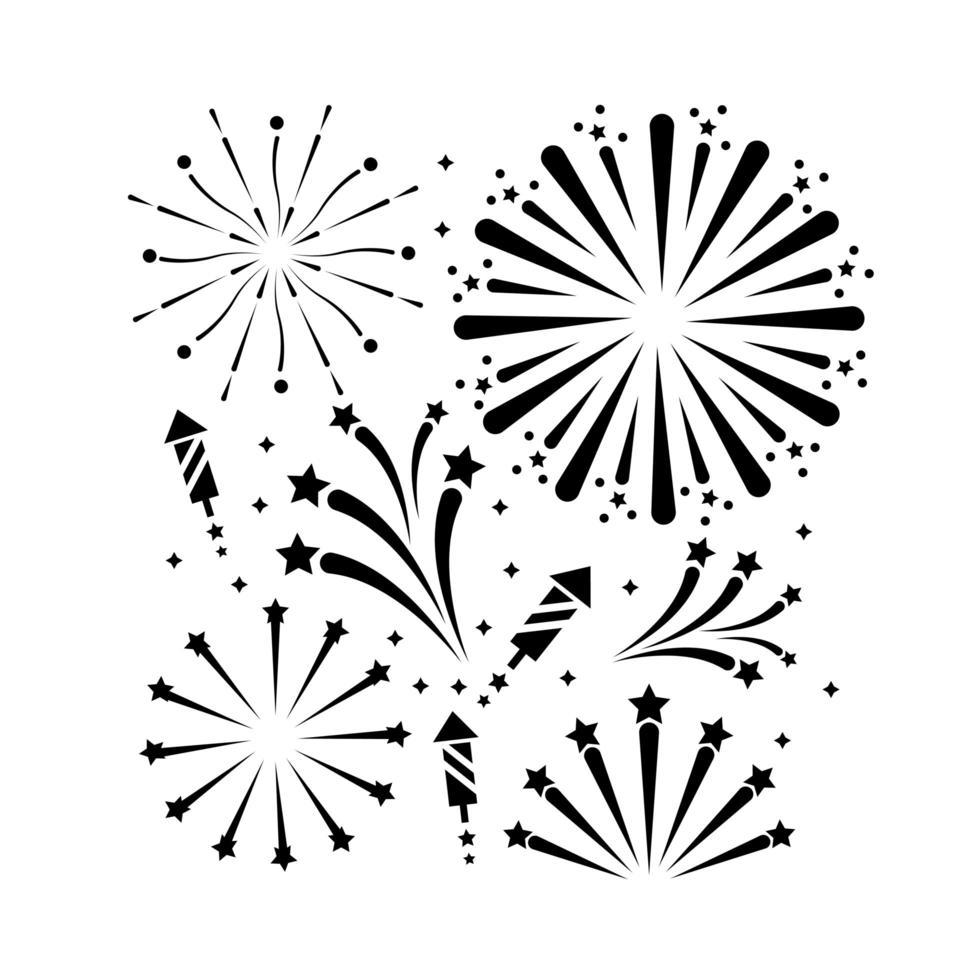 Fireworks outline icon set vector