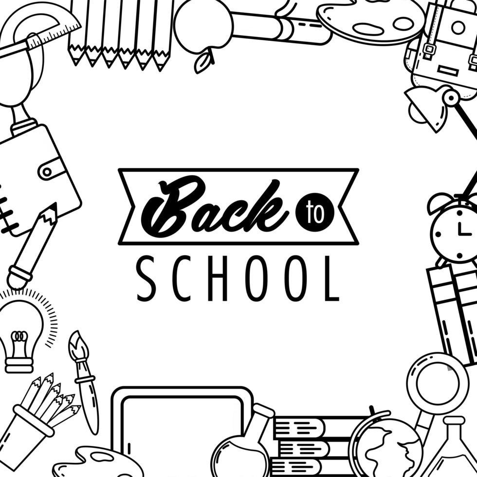 diseño de regreso a la escuela con iconos académicos vector