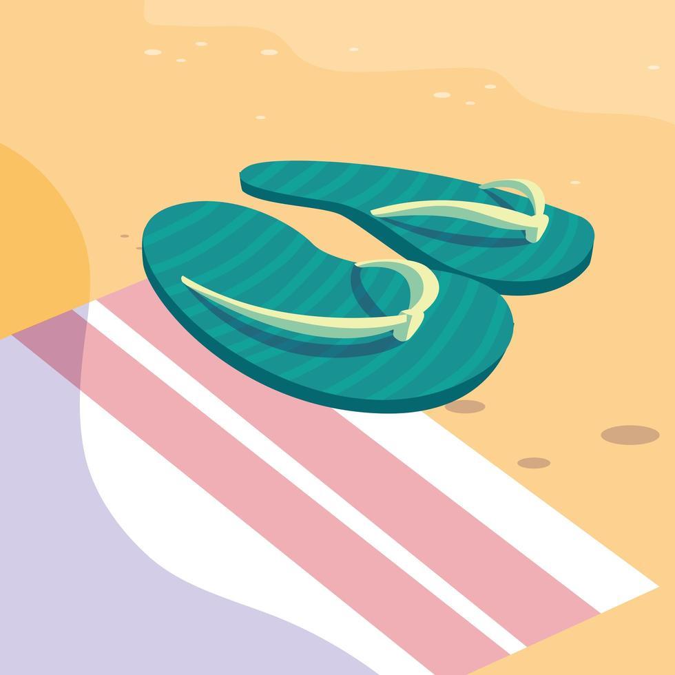 chanclas de verano sobre diseño de toalla vector