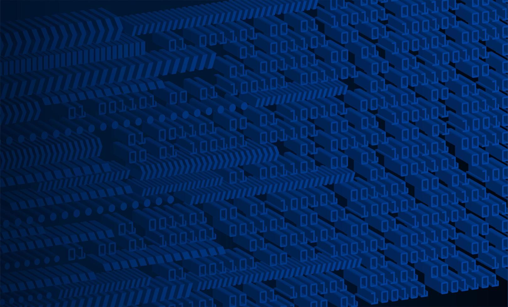 Blue 3D binary cyber circuit background vector