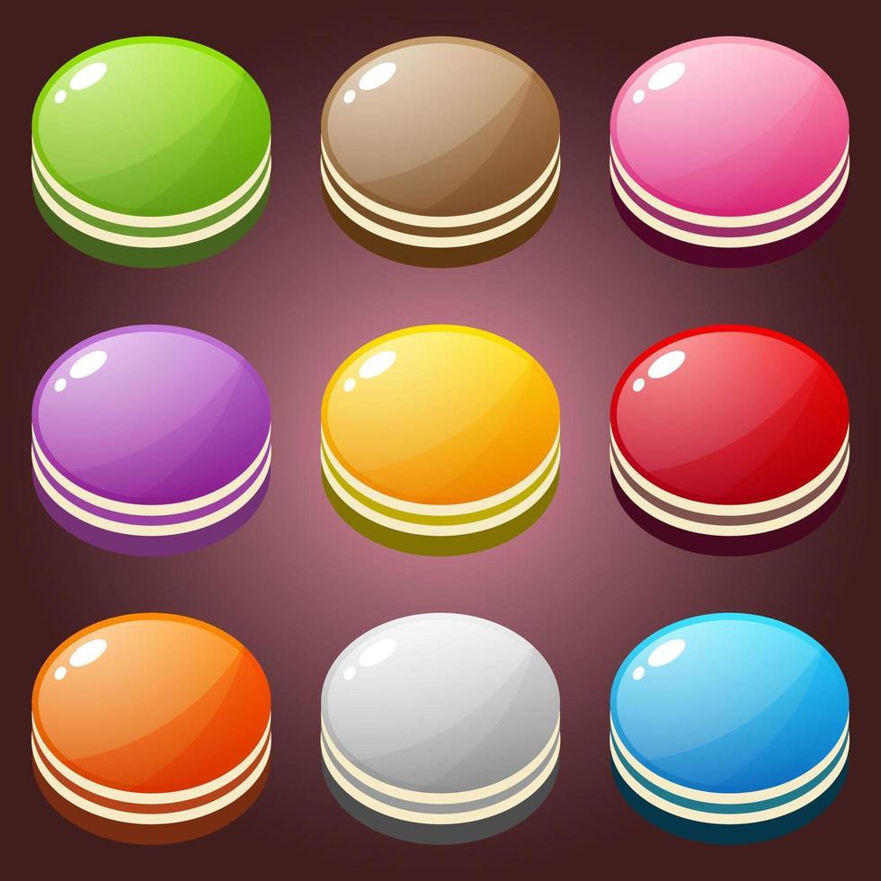 Beautiful candy cake shape button color set  vector