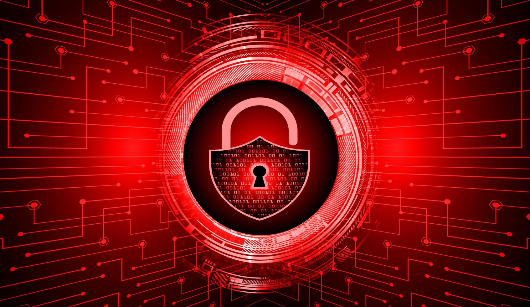 Closed padlock on red digital background vector