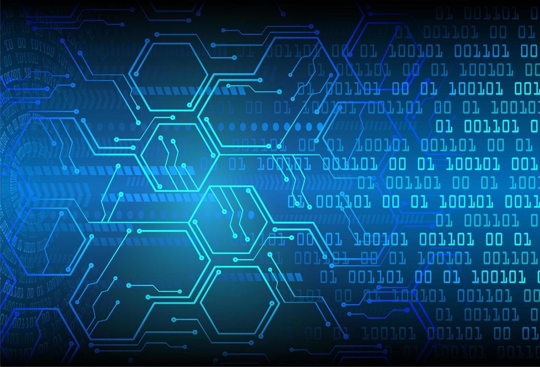 fondo de tecnología futura del circuito cibernético azul hexagonal vector