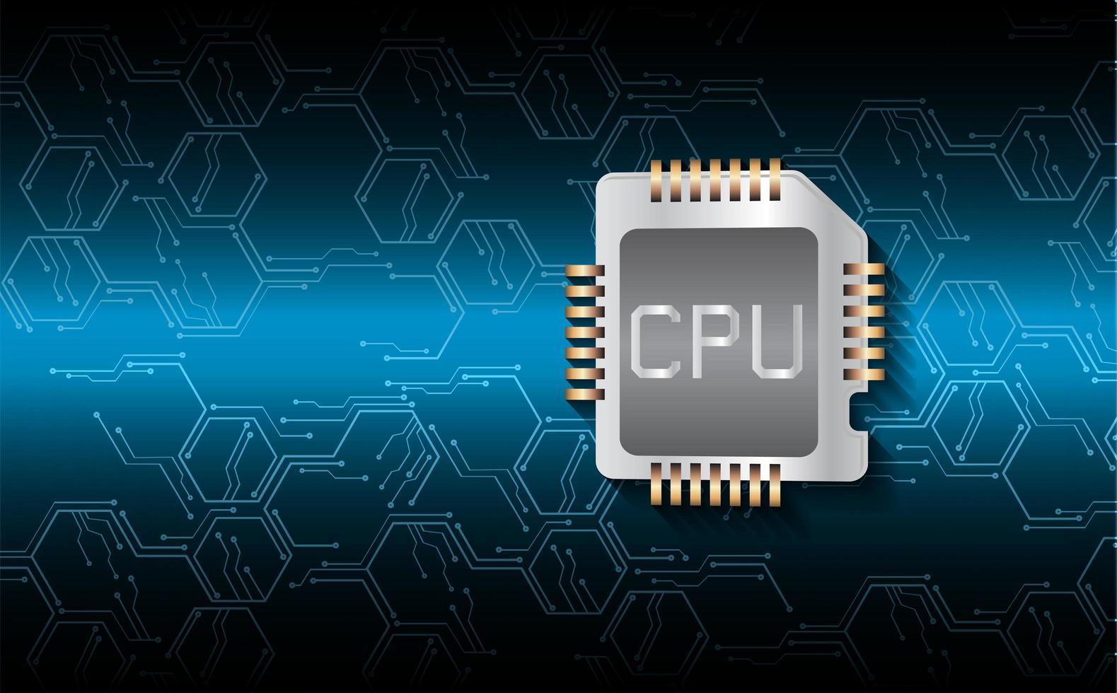 Fondo de concepto de tecnología futura de circuito cibernético de cpu vector
