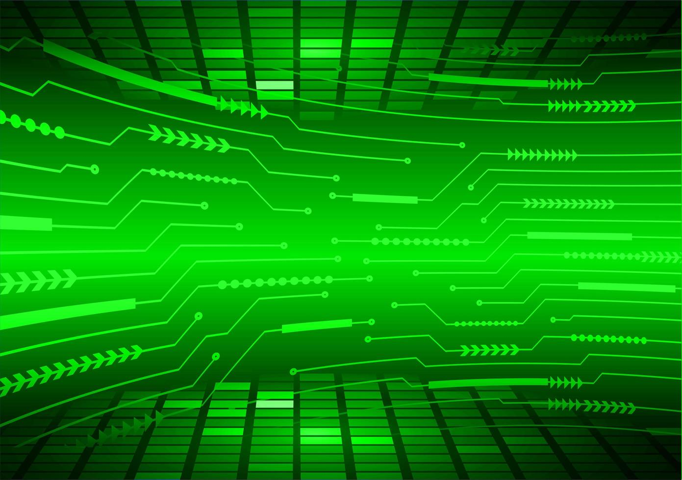 Green cyber circuit technology background vector